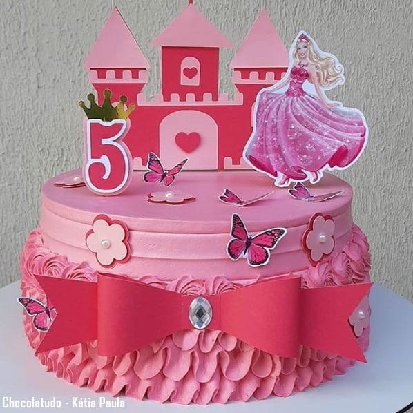 bolo rosa da Barbie princesa