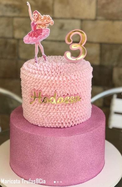 bolo de 2 andares da Barbie bailarina