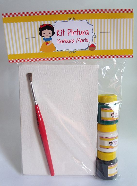 kit de pintura para lembrancinha de festa Branca de Neve