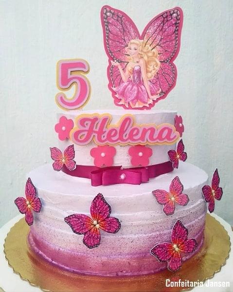 bolo da Barbie borboleta de 2 andares