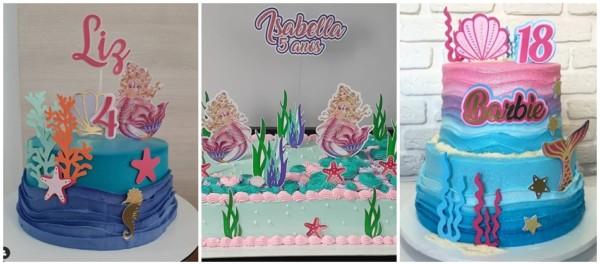 ideias de bolo da Barbie sereia