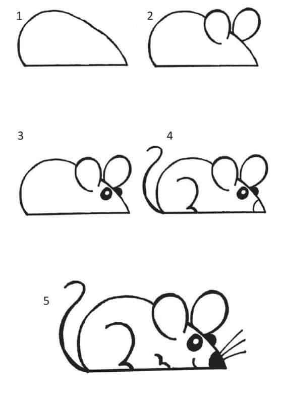 como fazer desenho de rato com passo a passo