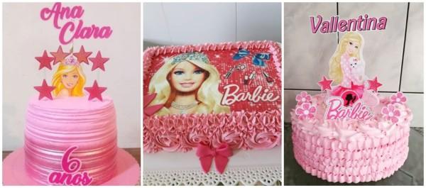 ideias de bolo simples da Barbie