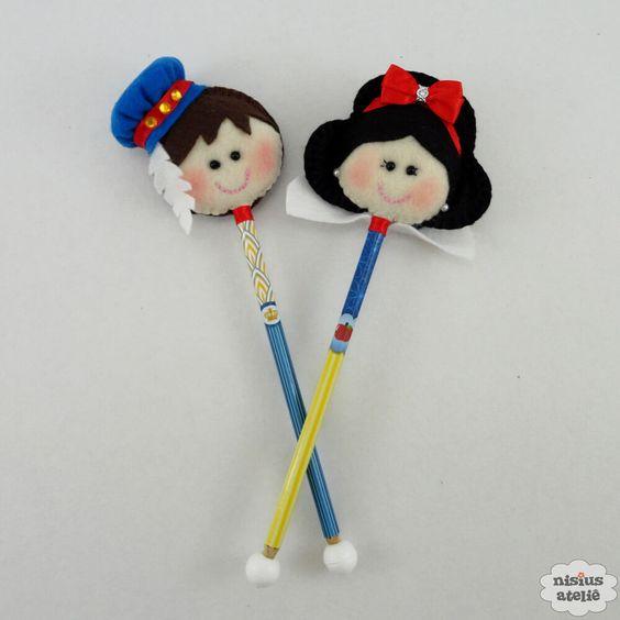 ponteira de lápis da Branca de Neve em feltro