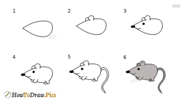 como fazer desenho simples de rato