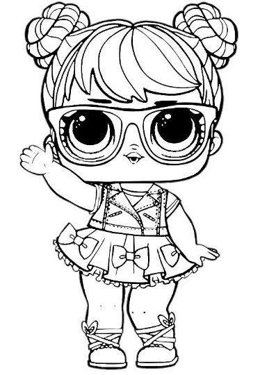 desenho da LOL de óculos para colorir