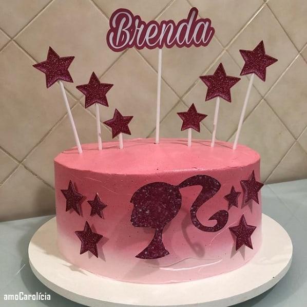 bolo redondo com decoração degradê
