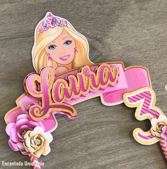 topper de bolo da Barbie personalizado com nome