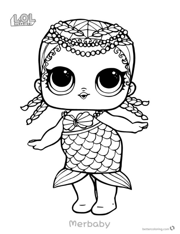 desenho da LOL sereia para pintar