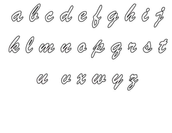 Alfabeto com letra de mão para colorir