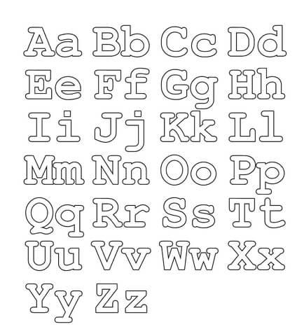 Alfabeto com letras maiusculas e minisculas para colorir