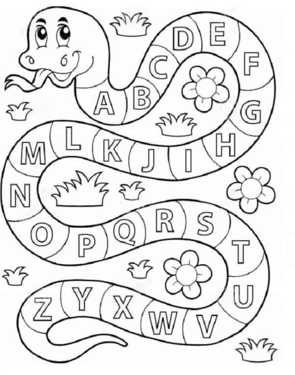 Alfabeto divertido em formato de cobra para colorir