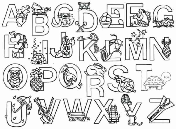 Alfabeto para colorir com animais e objetos