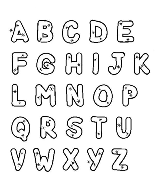 Alfabeto para colorir com estrelinhas