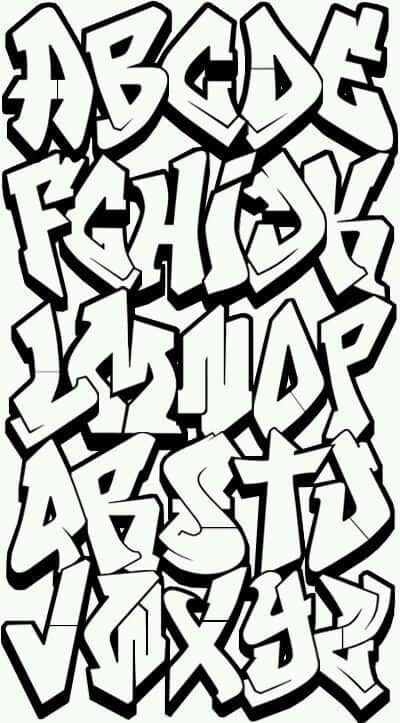 Alfabeto para colorir com fonte de grafiti