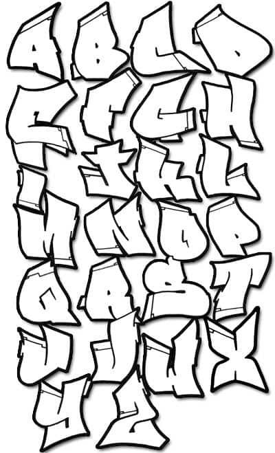 Alfabeto para colorir com letras de grafiti