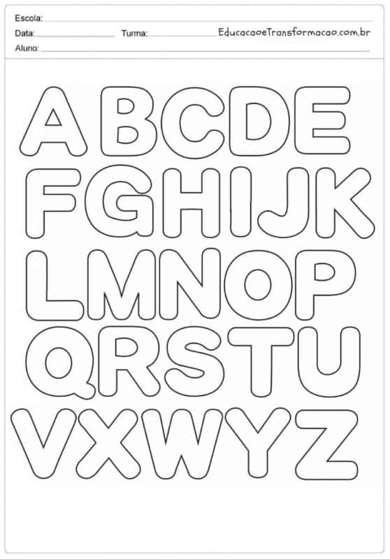 Alfabeto para colorir completo e com espaço para inclusão dos dados ideal para professores usar em sala de aula