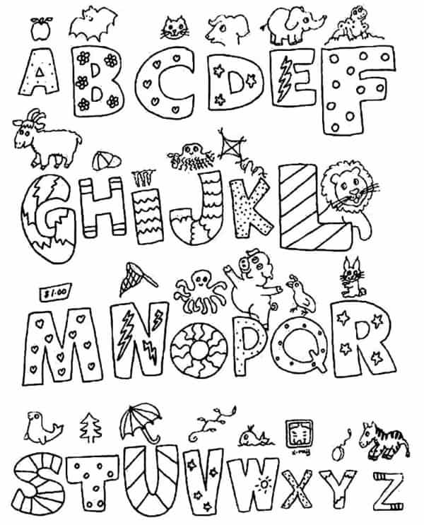 Alfabeto para colorir divertido com imagens