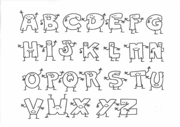 Alfabeto para colorir em formato de bonequinhos