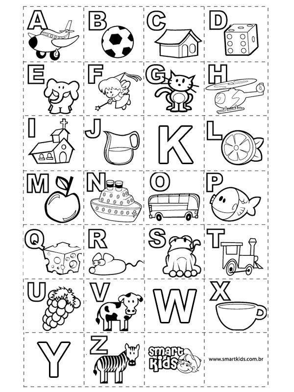 Alfabeto para colorir informativo com desenhos