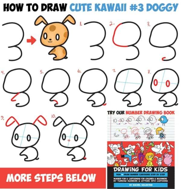 Cachorro Kawaii modelo de desenho