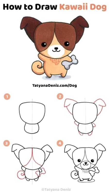 Como desenhar um cachorro kawaii de maneira simples
