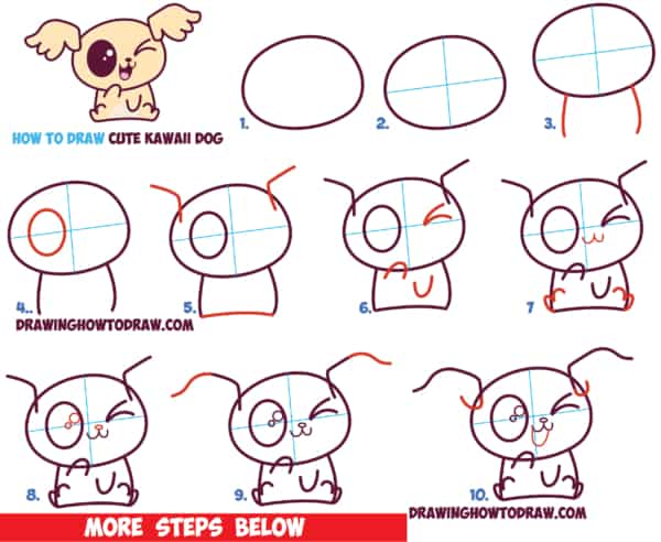 Como desenhar um cachorro kawaii rapido e facíl