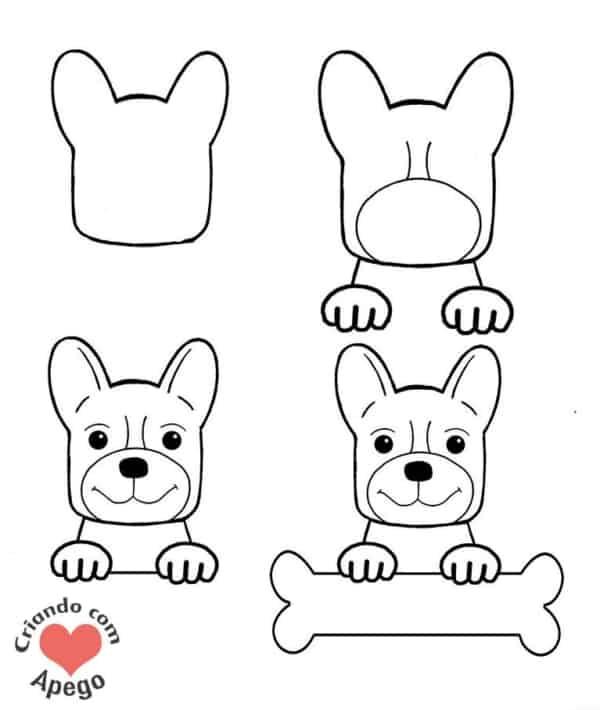 Como desenhar um cachorro segurando um ossinho
