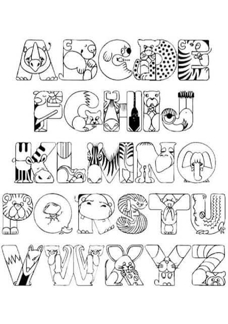 Divertido alfabeto para colorir com letras em formato de animais