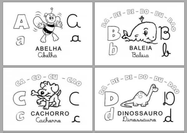 Letras A B C D para colorir com desenhos