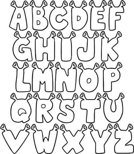 Letras com orelhinhas para colorir