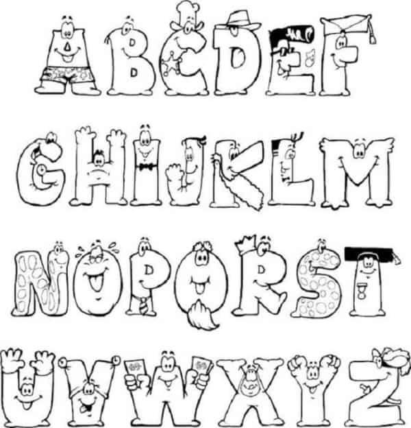 Letras com rostos para colorir