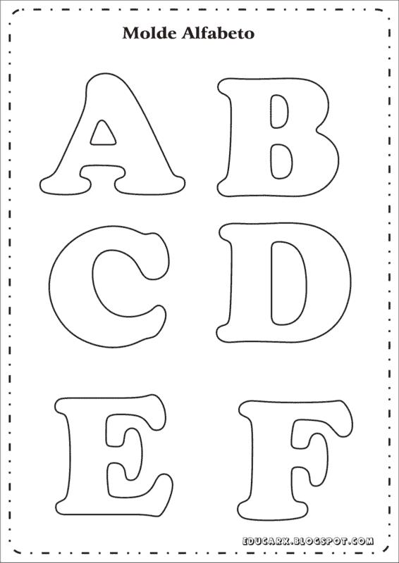 Letras de A até F para colorir