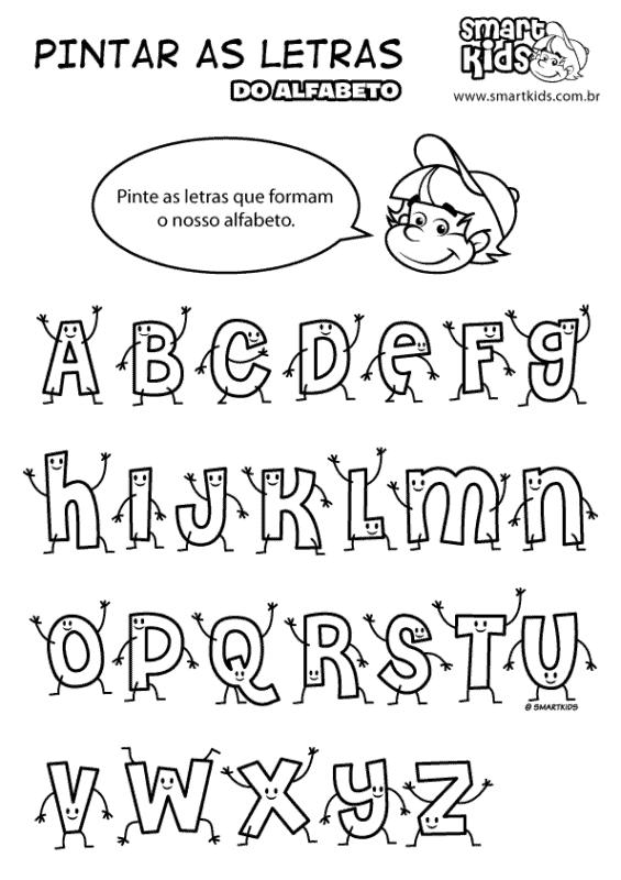 Letras divertidas do alfabeto para colorir