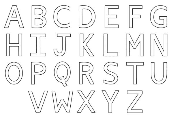 Letras simples do alfabeto para colorir