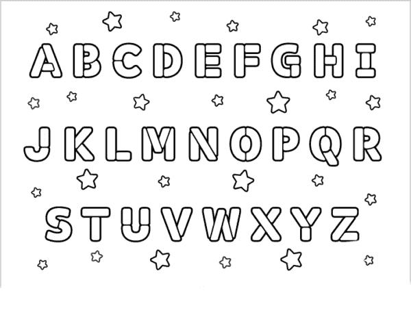 Todas as letras do alfabeto para colorir