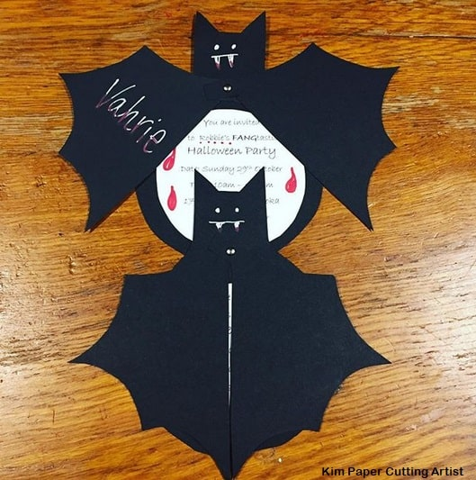 convite Halloween morcego