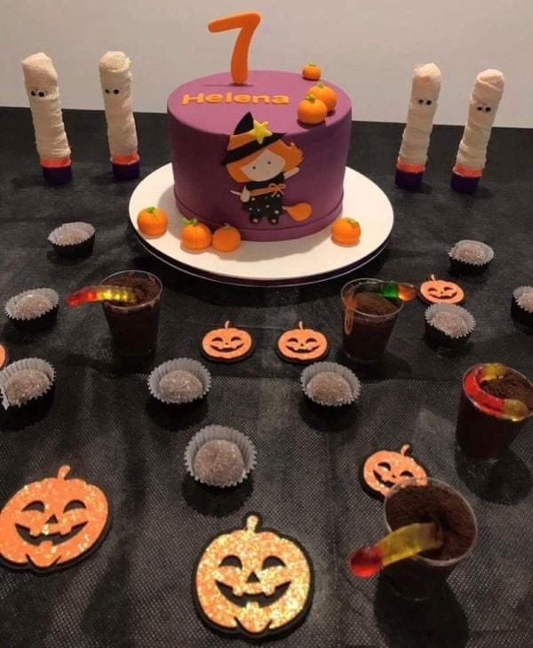 decoração de mesversario Halloween