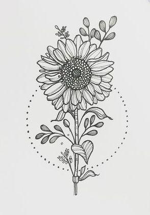 dica para desenhar girassol