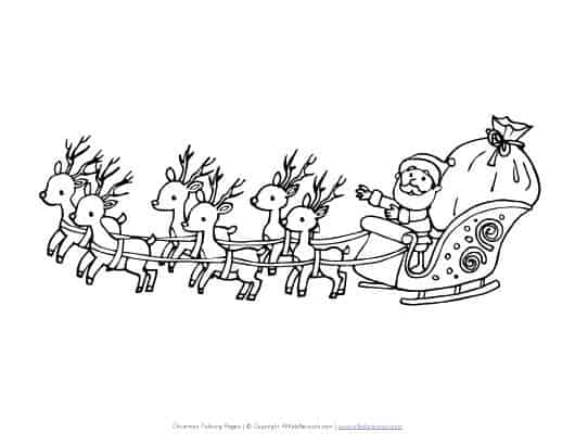 foto do trenó do Papai Noel para pintar
