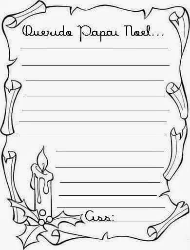 ideia de carta do Papai Noel para colorir