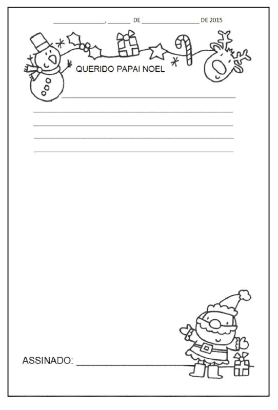 ideias de carta do Papai Noel para colorir