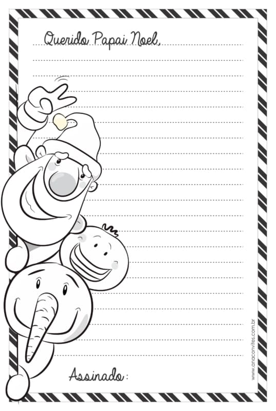 linda carta do Papai Noel