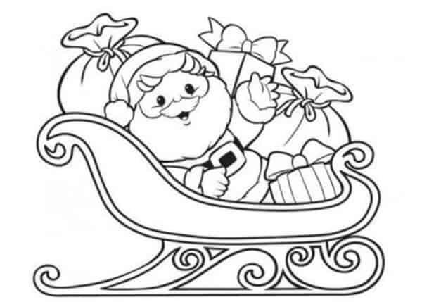 trenó do Papai Noel para colorir
