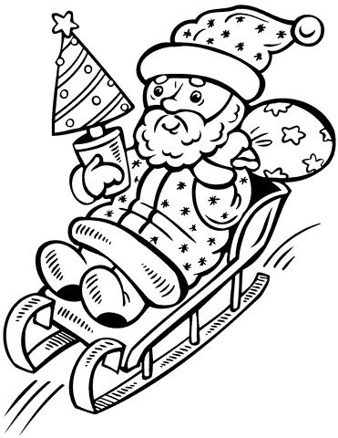 trenó do Papai Noel passo a passo para colorir