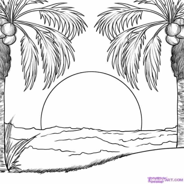 desenho de sol se pondo na praia