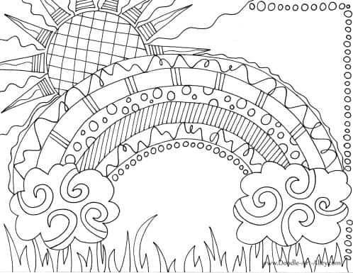 desenho de sol com detalhes para colorir