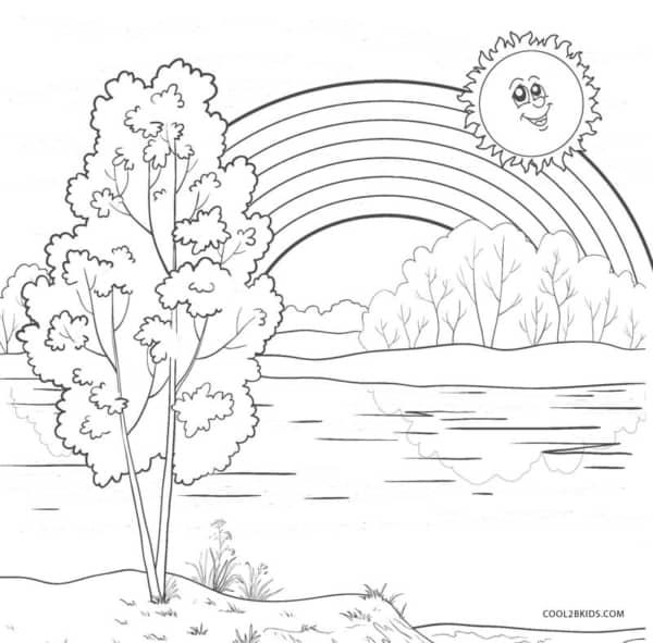 desenho para imprimir e pintar do sol com arco íris