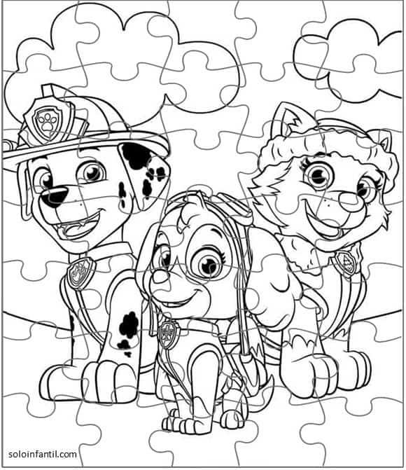 desenho da patrulha canina para quebra cabeça