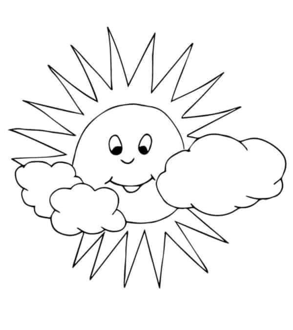 desenho de sol com nuvens para pintar